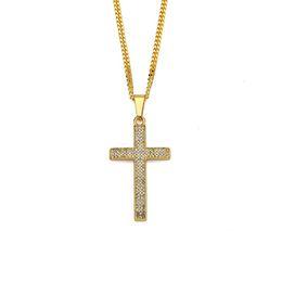 Wholesale Rap Necklaces - Fashion Men Cross Pendant Necklaces For Rhinestone Design American Star Popular Micro Rock Rap Hip Hop Men Chokers Necklaces