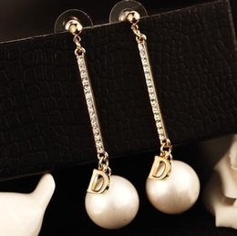 vintage mother pearl Promo Codes - Korean Big Pearl Dangle Earrings for Women Wedding Jewelry Long Earrings Accessories Vintage Gold Plated Crystal with Letter D Drop Earrings