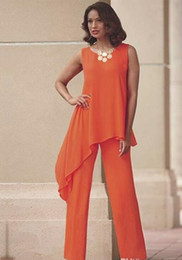 plus size sleeveless pant suits Promo Codes - Orange Two Pieces Mother of the Bride Pant Suits For Wedding Jewel Neck Chiffon Wedding Guest Dress Asymmetric Plus Size Formal Dresses