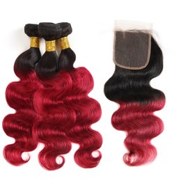 Ishow Ombre Color T1B / Bug Hair Weaves Extensions Capelli peruviani 3 Bundles con chiusura Ombre Body Wave Capelli umani supplier peruvian human ombre hair extension da estensione dei capelli umani peruviani umani fornitori
