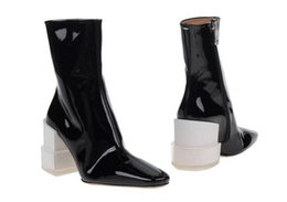Wholesale unique work - 2018 Ladies Spring Fall Boots Genuine leather Brand Short Boot Unique Heels Patent leather Ankle Booties Woman Shoes Chunky heels