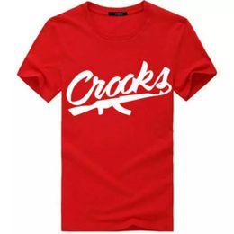 2019 tee di castelli dei criminali Crooks and Castles T-Shirt Uomo manica corta in cotone Moda Uomo T-Shirt CROOKS Lettera Uomo T-shirt Top T-shirt S-3XL tee di castelli dei criminali economici