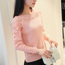 Wholesale lace sweater shirts - Hollow knit female long sleeved lace beading collar shirt and new dress thin sweater short sleeve head pullovers