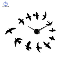 2020 большие птицы 3D  Birds Mirror Large Numer Wall Clock Sticker Animal Frameless Diy Giant Wall Clocks Huge Modern Watch Decor скидка большие птицы
