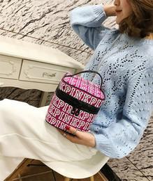 Wholesale Double Wall Plastic - Fashion Designer Bags Pink Cosmetic Handbags PINK Makeup Bag Love PINK Double Zipper Handbag Portable Storage Bags 17*17*17cm Nylon