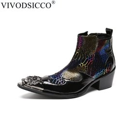 Botas italianas hombres botas online-VIVODSICCO Moda Hombre de lujo Botas de cuero genuino Botines Sanke Hombres Zapatos de vestir de negocios italianos Dedo del pie Cowboy