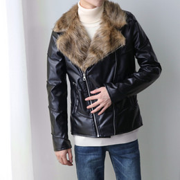 Wholesale Men Leather Down Jacket - Wholesale- 2016 Winter Men's Leather Jackets Fur Turn-down Collar Coat Oblique Zipper Pockets Decorated Motorcycle Leather Jacket 227