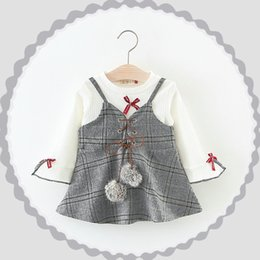 Wholesale Baby White Plaid Dress - Everweekend Kids Girls Spring Cute 2pcs Outfits Plaid Halter Lovely Dress and White Puff Sleeves 2pcs Baby Girls Sets