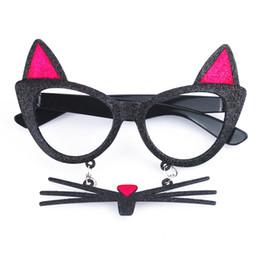 2019 party brillen rahmen Nette Katze Brille Rahmen Frauen Mädchen Drama Dance Party Brille Tier Katze Schnurrbart Bart Brillen Cosplay Act Show Prop H5 rabatt party brillen rahmen