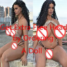 big boobs figa Sconti 6ye Hot Black Sex Doll 5'5 Ft R-Cup Seni enormi American Black Doll bambola del sesso per gli uomini con vero silicone Vagina figa anale orale
