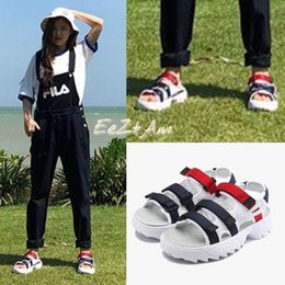 Wholesale Men New Style Sandals - FILA Original disruptor2 Outdoor sandals Black White Summer New market trend style Street movements Discount Sneakers Size 35-44