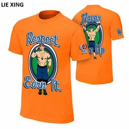 Wholesale Wrestling Shirts - 2018 New T Shirt Men Wrestling John Seth Sr Rollins Cena Respect. Earn It. Orange Blue fashion Men's T-shirt