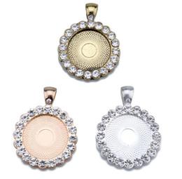 Бриллиантовая подвеска круглая онлайн-25 мм круглый Алмаз кулон кулон база DIY ювелирные аксессуары