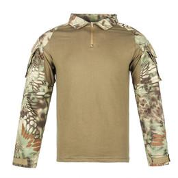 impressão de vidro barato Desconto Multicam Uniforme Camisa de Manga Longa T Camuflagem Dos Homens Camisa de Combate Do Exército Roupas de Paintball Tático