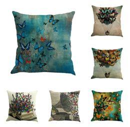 Padrão de travesseiro de borboleta on-line-Natureza cor borboleta pára-quedas livro gramofone padrão de linho travesseiro travesseiro clássico europeu almofada do escritório do carro sofá almofada