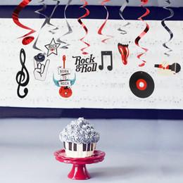 Tourbillons de décoration en Ligne-(10pc / pkg) Rock Star Metallic Foil Hanging Swirls Rock N 'Roll Whirls Décorations de fête musicale Fête d'anniversaire
