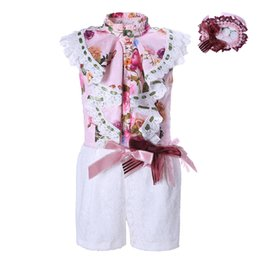 Wholesale Girls Clothes Size 12 Months - Pettigirl Girls White Jumpsuit Romper Outfit Summer Kids Flower Lace Costume Children Overalls Clothes with Headwear 2-12Y G-DMRR001-1328