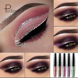 Sombra de ojos plateada online-16 colores Pudaier Liquid Glitter Eyeliner Maquiagem Profissional Silver metalizado Shimmer Eyeliner para sombras de ojos Maquillaje