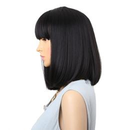 Argentina Peluca natural de 14 pulgadas pelucas sintéticas negras rectas con flequillo para mujeres peluca de pelo medio de longitud media peluca bobo resistente al calor pelucas de cosplay Suministro