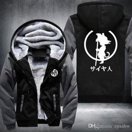 Wholesale 4xl Zip Up Hoodie - USA SIZE 2016 Winter New Brand Fashion Dragon Ball Anime Son Goku Cosplay Hoodies Tops Thicken Zip up Casual Coats Plus size fas