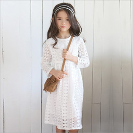 Wholesale Dress Tutu Long Sleeve Girl - Vieeoease Girls Lace Dress Kids Clothing 2018 Spring Flower Korean Fashion Long Sleeve Cotton Princess Dress ER-296