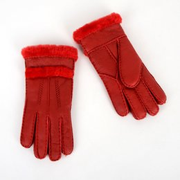 leather sheep gloves Promo Codes - Furs and sheep fur gloves finger-pointing female winter warm padded fashion gloves leather real hair riding outdoors