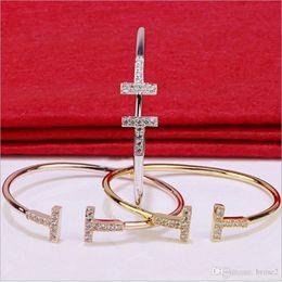 Braccialetto semplice della mano dell'oro online-Marchio di moda europeo e americano in oro rosa 18 carati con cinturino in diamanti a forma di semplice anello da allievo femminile