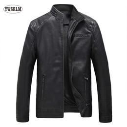 Wholesale Male Leather Wool Clothing - Wholesale- YWSRLM Keep warm fashion autumn winter Men's leather jacket brand clothing casacos black jacket quality male leather coat 5XL