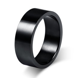 Wholesale Forever 12 - Wholesale- Size7-12 Couples 8mm Titanium Steel Black Rings for Men Wedding Bands Forever Love Promise Engagement Ring Anel Aneis R027