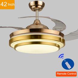 Wholesale Led Light Bulb Ceiling Fan - 110v 220v 42inch Living Room Modern Gold Fan Ceiling Lights Fixtures Acrylic Leaf Led Ceiling Fan Light Kit with Remote Control