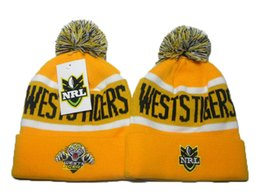 Wholesale Tiger Beanie Hat - NRL Wests Tigers Winter Beanie Hats For Men Knitted Roosters Beanies Warm Cronulla Sharks Caps Drop Shipping