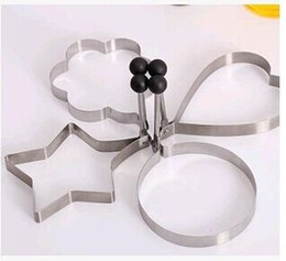 Wholesale Pc Metal Gear - 4 pcs set Stainless Steel omelette device egg Rings Molds Kitchen Fried Pancake Tools Star Round Plum Flower Heart Shapes Molde Huevos