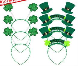 Canada 100pcs Irlandais St Patricks Day Bandeau Vert Leprechaun hairband Shamrock Boucle Fantaisie Robe Carnaval De Noël Chapeaux C201 Offre
