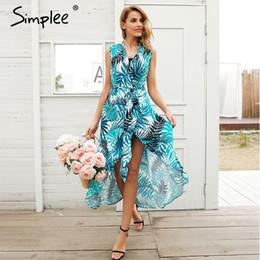 3d49e3e5dea88 Simplee v neck print pássaro vestido de verão mulheres sexy sem mangas sash  maxi wrap dress 2018 boho praia chique longo dress vestidos acessível  vestido ...