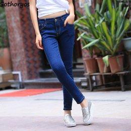 2019 koreanische hosen designs Jeans-Frauen-feste dünne einfache entworfene Harajuku-Reißverschluss-Bleistift-Hosen-Frauen-Taschen Allgleiches dünne koreanische Art-Damen-Hose günstig koreanische hosen designs