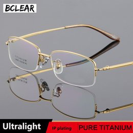 fad6d24d60 BCLEAR 2018 New fashion spectacle frame men myopic Titanium ultra light optical  glasses business male myopia half-rim eyeglasses