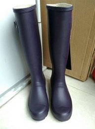 Wholesale Women S Boots Wholesale - 14 color H brand women s tall Knee-high Snow rainboot rain boots low heels knee high waterproof welly boots rainboots water shoes for adult