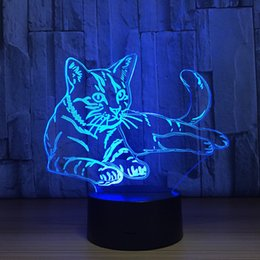 Wholesale Lay Egg - Lying Cat 3D Optical Illusion Lamp Night Light DC 5V USB Charging AA Battery Wholesale Dropshipping Free Shipping