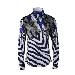 Wholesale Fishing Shirt Xl Long Sleeve - Fashion Luxury Fancy Shirts Men Casual Shirt Men social dress Shirts Italian Slim Fit Fish Zebra Stripes printed Tuxedo Shirts