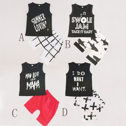 Wholesale Patterns Baby Clothes - 2018 Summer Baby clothing outfit Letters Tank + Shorts 2pcs set Shark Toddler clothes Geometric Pattern cotton wholesale 2018