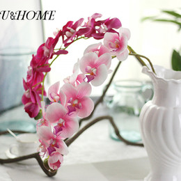 Wholesale Cheap Fake Flowers For Weddings - Cheap artificial phalaenopsis latex orchid flowers real touch for home wedding mariage decoration fake flores accessories bulk