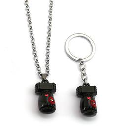 2019 deadpool colares Deadpool 3d bonito mini bomba chaveiro de metal colar de corrente de ligação liga chaveiro pingente homens chaveiro brinquedos cadeia de jóias filme deadpool colares barato