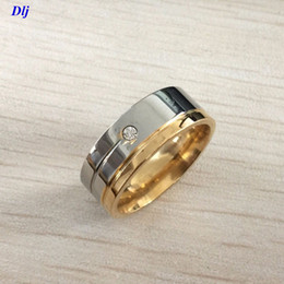 Wholesale white gold ring mens - Free Shipping 8MM Mens Womens Fashion luxury Titanium Stainless Steel gold silver plated Band Ring US Size 7-12