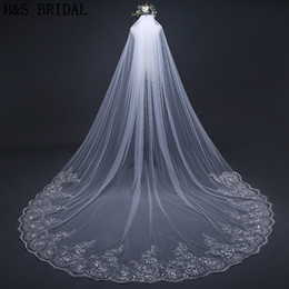 Wholesale Bridal Veils Crystals - Crystals Wedding veils beaded long 1 layer cathedral lace edge bridal veils 2018 new designer 3m 4m veils wedding accessories