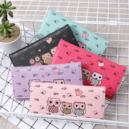 Wholesale red flower cards - 2018 Women Simple Retro Owl Printing Long Wallet Coin Purse Card Holders Handbag