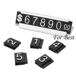 Venta al por mayor de plata 30 sets Envío gratuito precio de la joyería etiqueta de exhibición Etiqueta ajustable número contador de dólar signo con base de soporte desde fabricantes