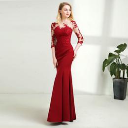 e90b13fee6 Sirena Vestido de noche largo Sheer Mangas tres cuartos Elegante hasta el  suelo Rojo oscuro Vestidos de baile 2019 tres cuartos de longitud vestidos  de ...