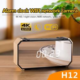 Caméra miroir wifi en Ligne-Caméra de surveillance sans fil wifi HD 4K 1080P alarme horloge caméra vidéo portable miroir horloge MINI DV DVR pour la sécurité à la maison