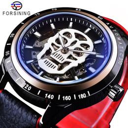 2020 проектирование водных часов Forsining Sport Clock Skull Skeleton Black Red Watches Men's Automatic Watches Top  Luminous Design Water Resistant дешево проектирование водных часов