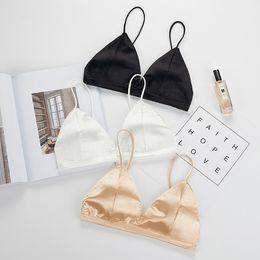 Wholesale silk bras - SP&CITY Minimalism Summer Sexy Silk Seamless Bras Soft Wire Free Bra Women Solid Base Tops Bra Female Lingerie Sex